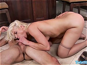platinum-blonde hottie in the kitchen well-prepped for love