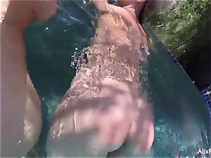 huge-boobed blondes Alix and Cherie go bony dipping
