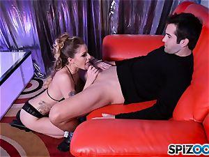 insatiable little stripper Alana Summers gets a facial cumshot