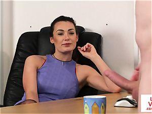 Office femdom trains victim to jack till jizz