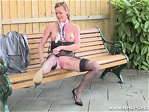 nasty mummy jacks in public in nylons garters high-heeled shoes