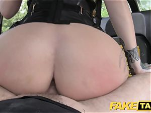 faux cab Fetish goddess in ebony leather buttfuck creampie