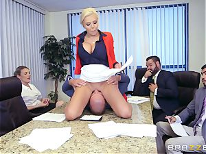 stringent huge-chested chief Nina Elle exploits its workers during a meeting
