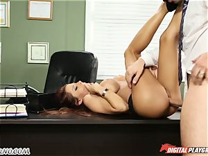 Mature fellow tests his fresh assistant in office