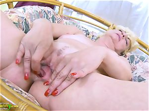 OldNannY blonde Mature Solo Titplay and fingerblasting